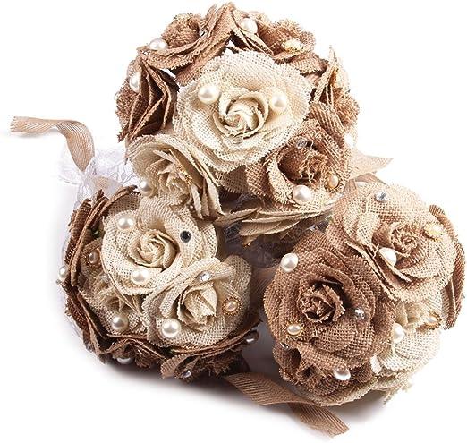 SUPVOX 12pcs Burlap Flower Jute Vintage Handmade DIY Floral Craft for Rustic Wedding Christmas Party Bouquet Hat Shoe Decoration