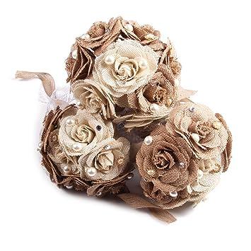 Oulii Bouquet De Mariage Rustique Toile De Jute Fleur Bouquet