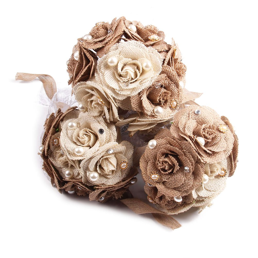 Tinksky Rustic Wedding Bouquet Burlap Flower Bouquet Lace and Pearls ...