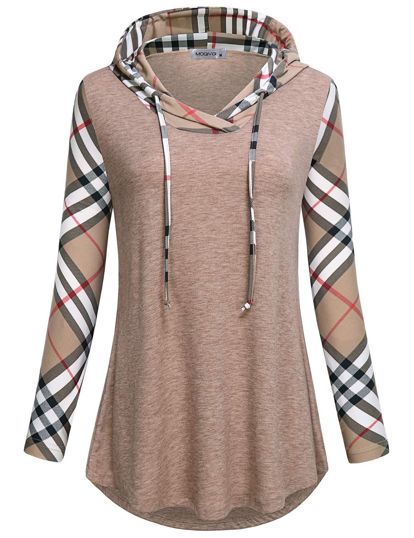 MOQIVGI Plaid Hoodie,Womens Long Sleeve V Neck Pullover Sweater Fashion 2018 Cute Comfy Lightweight Color Block Patchwork Drawstring Sweatshirts Soft Surroundings Clothing Tunic Tops Apricot Medium