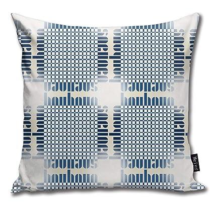 Amazon.com: Brecoy Bauhaus Grid Glow Bluewhite Throw Pillow ...