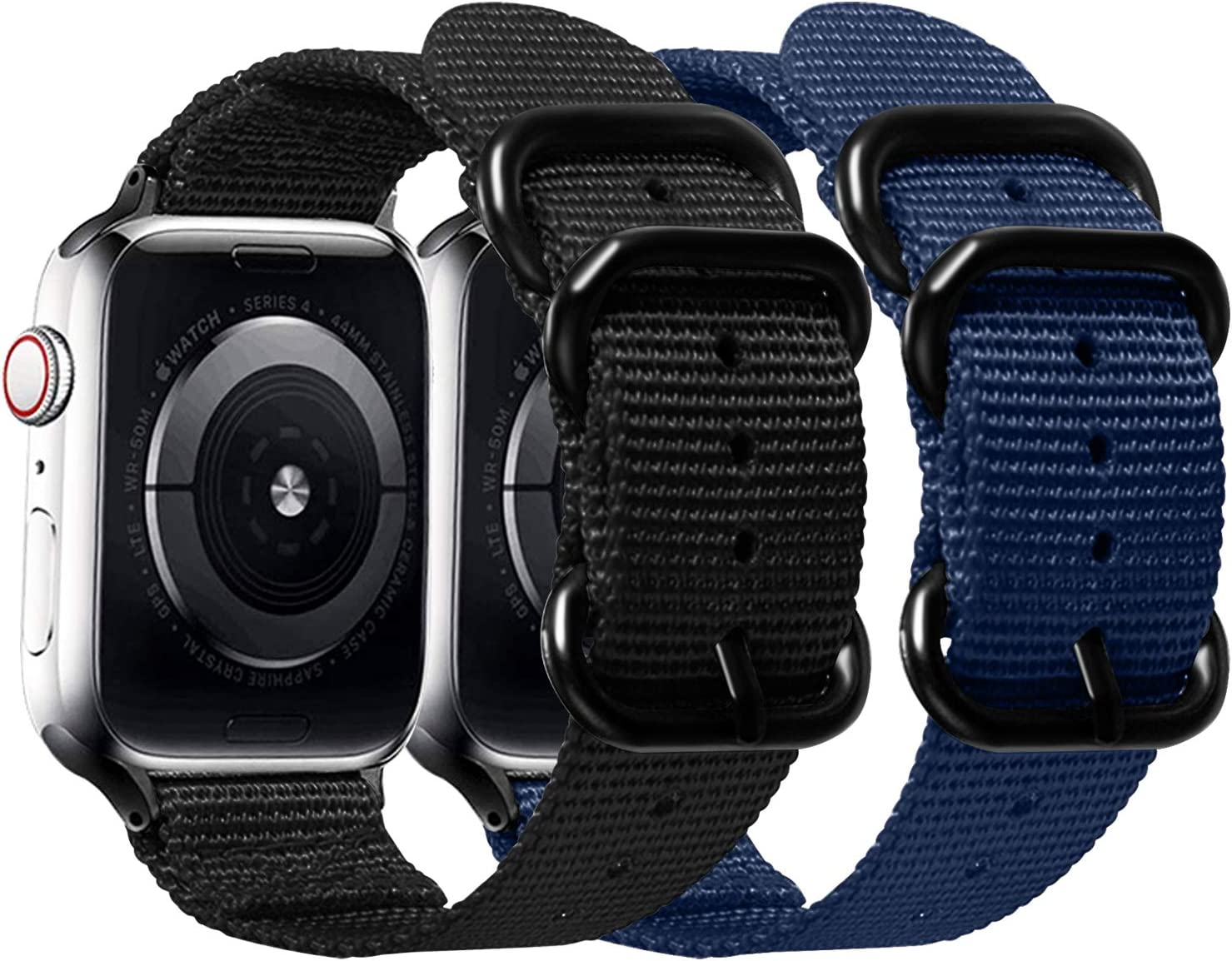 Misker Nylon Band Compatible with Apple Watch Band 44mm 42mm 40mm 38mm,Breathable Sport Strap with Metal Buckle Compatible with iwatch Series 5/4/3/2/1 (2-Packs Black/Navy Blue, 42mm/44mm)