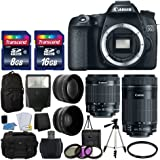 Canon EOS 70D Digital SLR Camera Full HD 1080p Video + EF-S 18-55mm F3.5-5.6 IS STM + 55-250mm STM IS Lens + 58mm 2x Lens + Wide Angle Lens + Auto Power Flash + Uv Filter Kit + 24GB Accessory Bundle