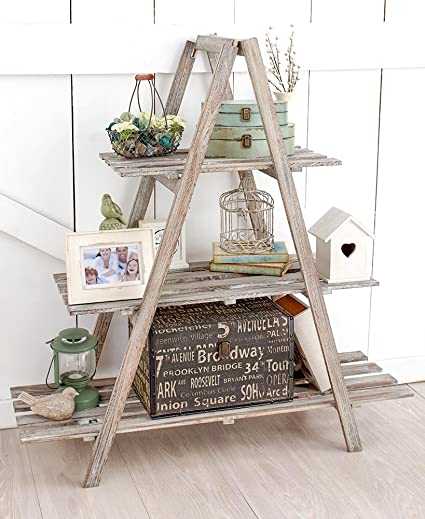 The Lakeside Collection 3 Tier A Frame Wood Shelving Gray