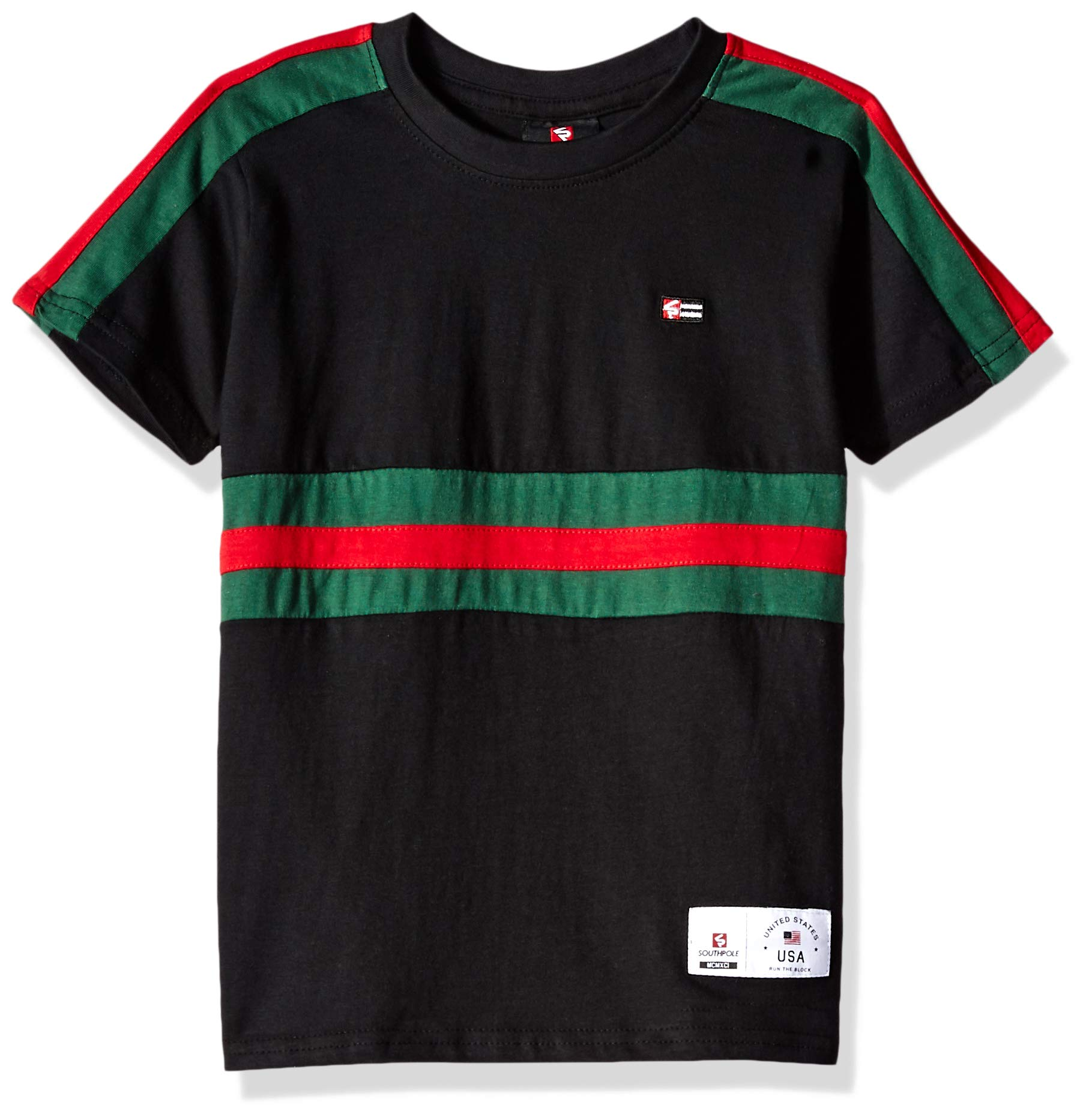Southpole - Kids Boys' Little Colorblock Short Sleeve Fashion Tee, Black Color Stripe, Medium