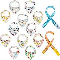 LictinConfezione da 12 paia di bavaglini Bandana per neonati e bambini con 2 manichini per bambini