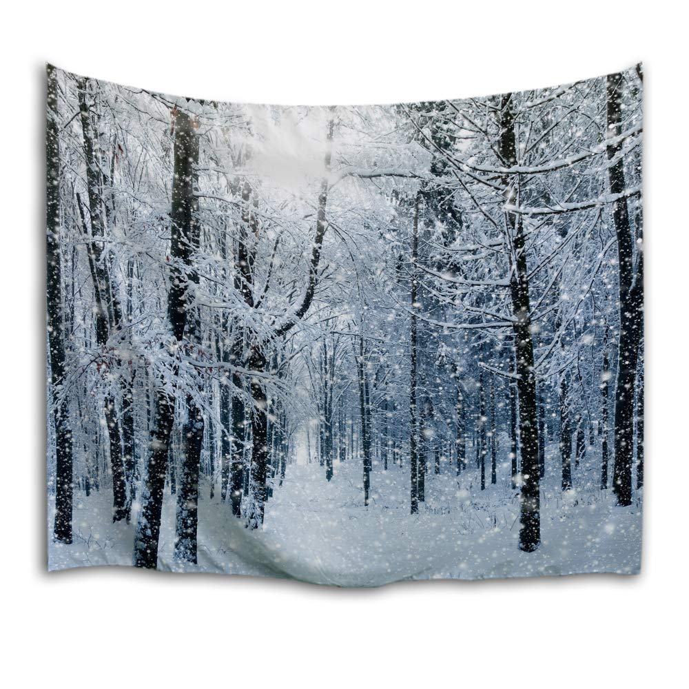 QiyI Home Christmas Decor Light-Weight Polyester Fabric Tapestry-Romantic Pictures Art Nature Home Decorations-60 L x 40'' W(153cmx102cm)-Snow in The Woods