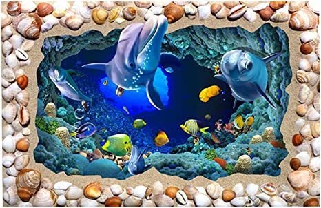 Libaoge Fish Tank Background 3D Underwater World Aquarium Backdrop Sticker Wallpaper Decoration PVC Adhesive Decor Paper Cling Decals Poster