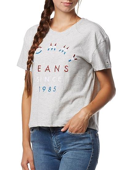 Tommy Hilfiger T- Shirt Femme Logo Brodã© Tee L Gris  Amazon.fr  Vêtements  et accessoires 8f7b0aa1c189