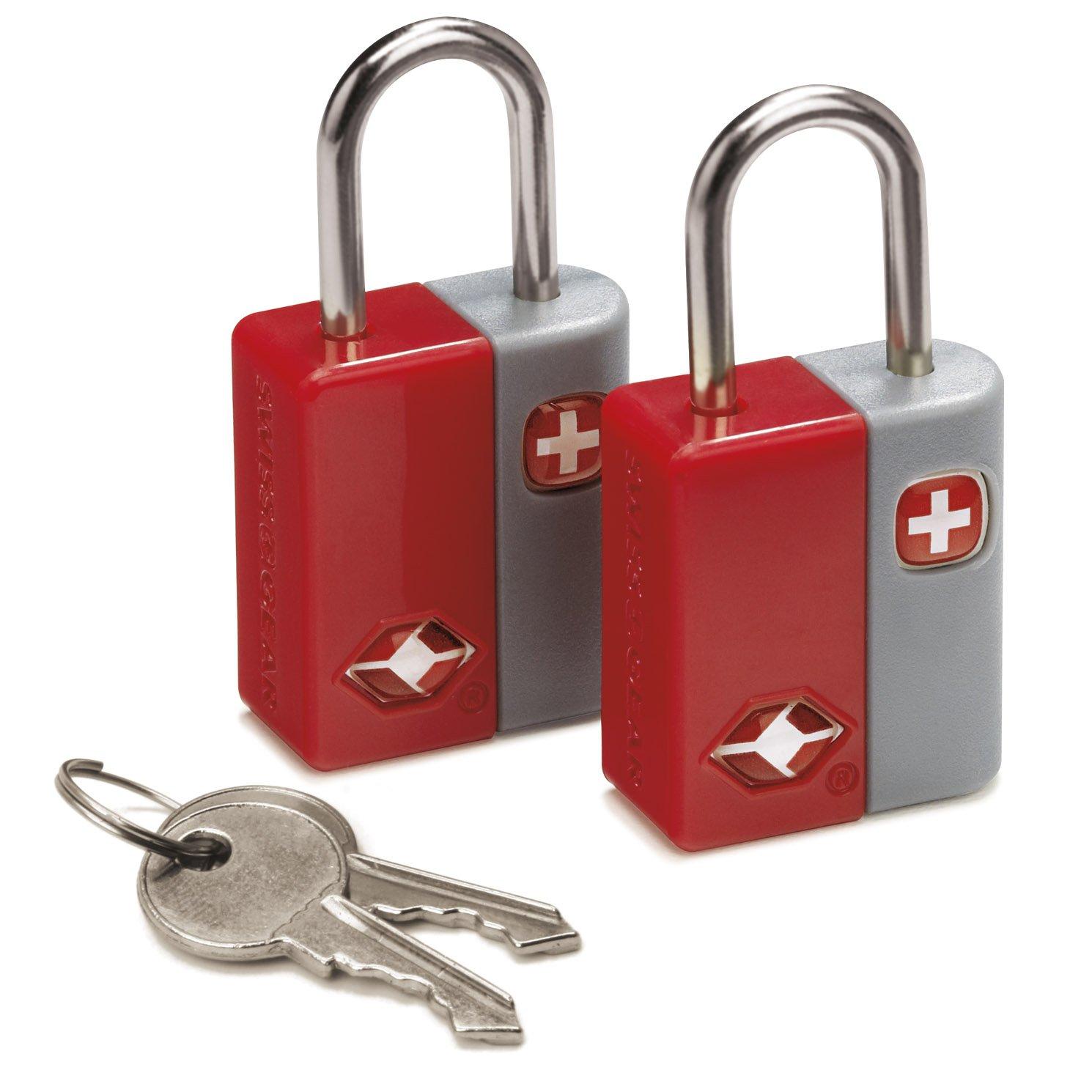 SwissGear TSA-Approved Travel Sentry Luggage Locks - Set of 2 Mini Locks with 2 Keys, Red, One Size by Swiss Gear (Image #1)