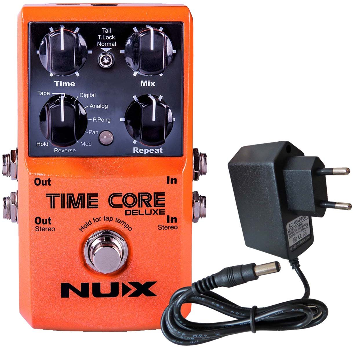 NUX Time Core DELUXE Multi Delay Pedal 8 Delays und Looper Funktion + KEEPDRUM 9V Netzteil
