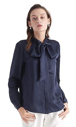 24a7d6de579e3e LilySilk Klassisch Seidenbluse Damenmode Seidenhemd Langarmbluse Damen  Schluppenbluse Langarm aus 22 Momme Navy Blau XS Verpackung