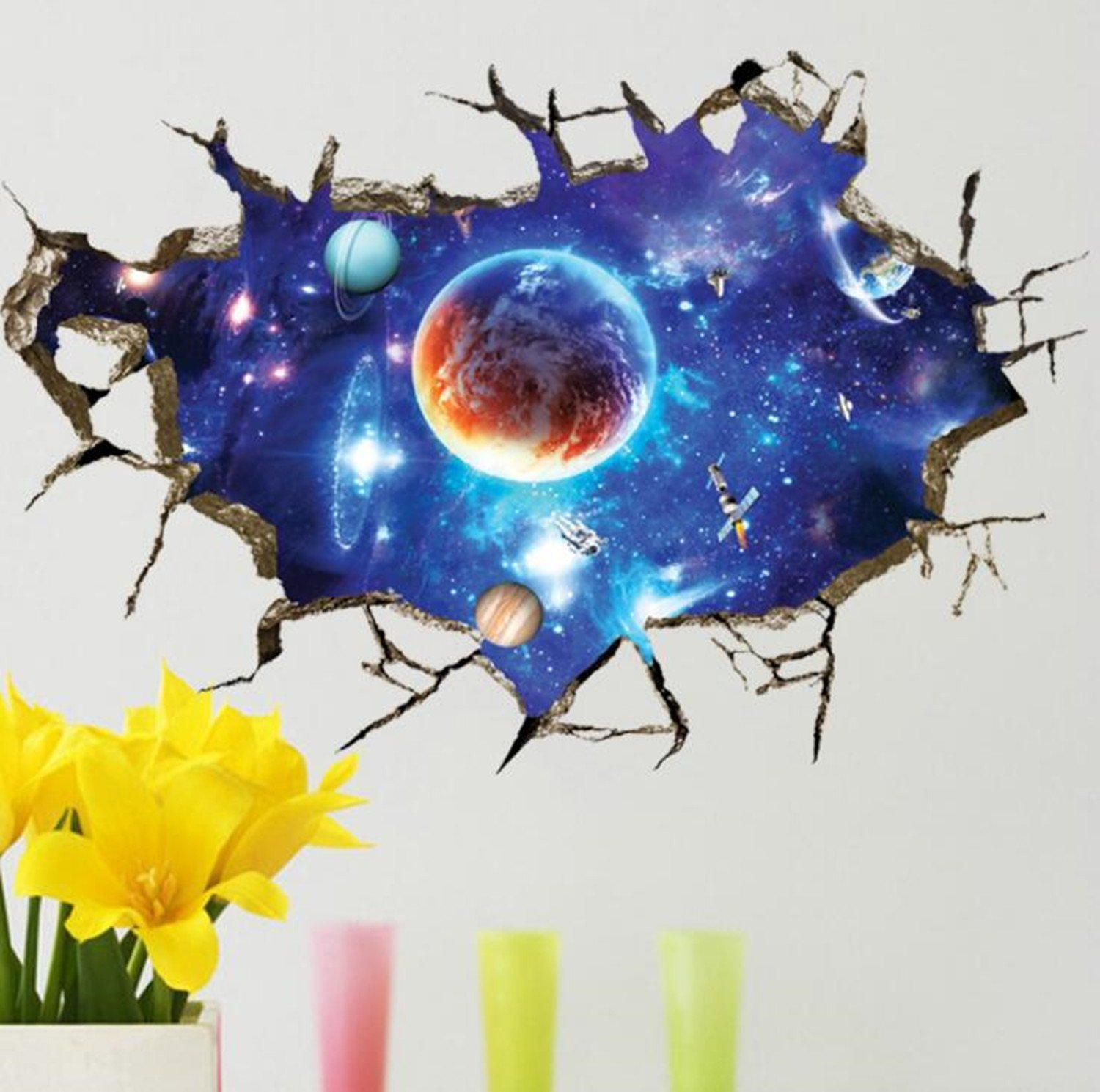 Amazon.com: HighFS Removable 3d Cracked Wall Outer Space Stars ... for 3d Wall Graphic Design  585eri