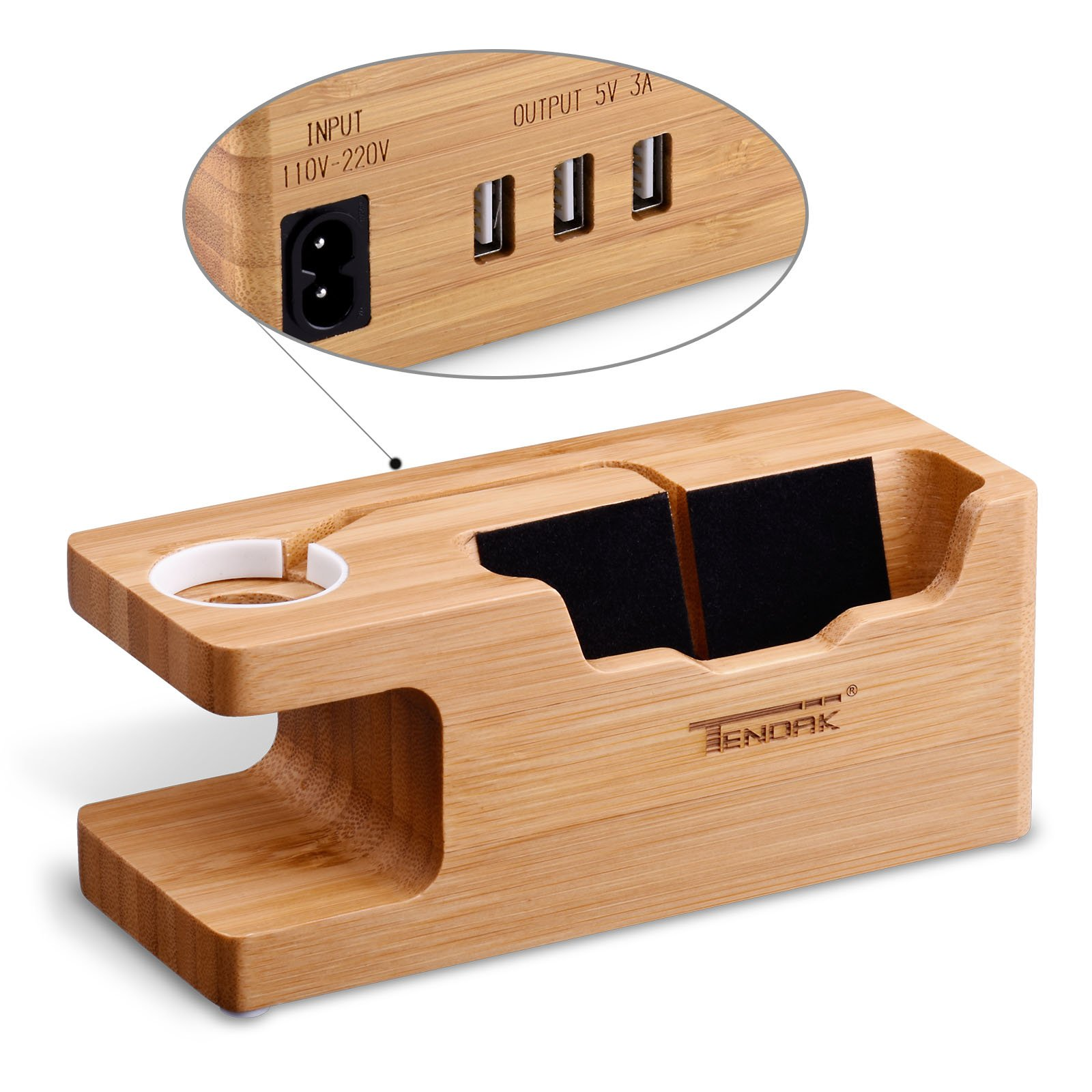 Apple Watch Charging Stand - Tendak Apple Watch Phone Standwith 3 USB Port Bamboo Wood USB Charging Station for 38mm and 42mm Apple Watch & iPhone 6 6 plus 5S 5 7 7 plus and Other Smartphone