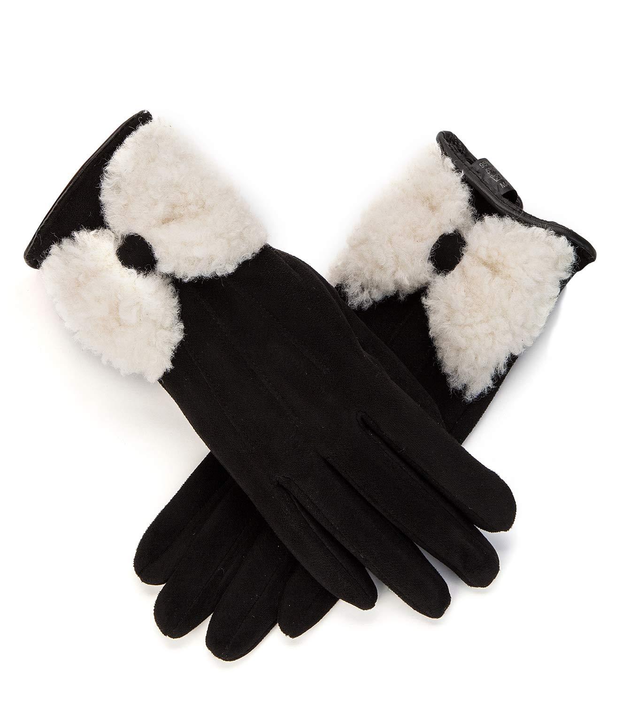 Womens Winter Warm Gloves Touch Screen Black Fleece Lining Gloves (91MM black gloves) JNSTM-02