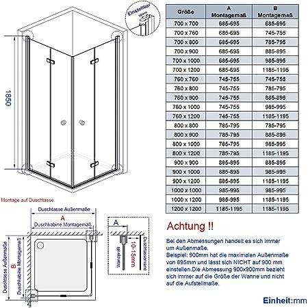 Mampara de Ducha Plegable, Puerta de Ducha, 6 mm, Cristal de ...