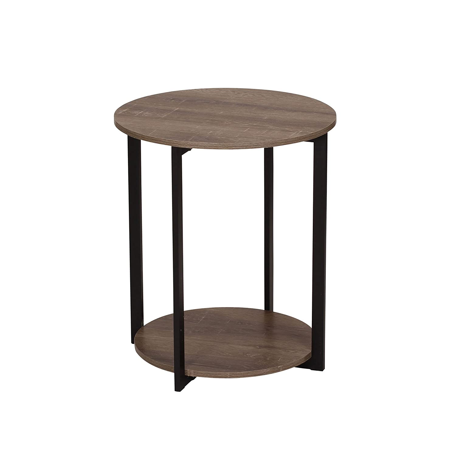 Household Essentials 8080-1 Wooden Side End Table with Storage Shelf | Ashwood