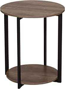 Amazon Com Household Essentials Wooden Side End Table With Storage Shelf Ashwood Furniture Decor