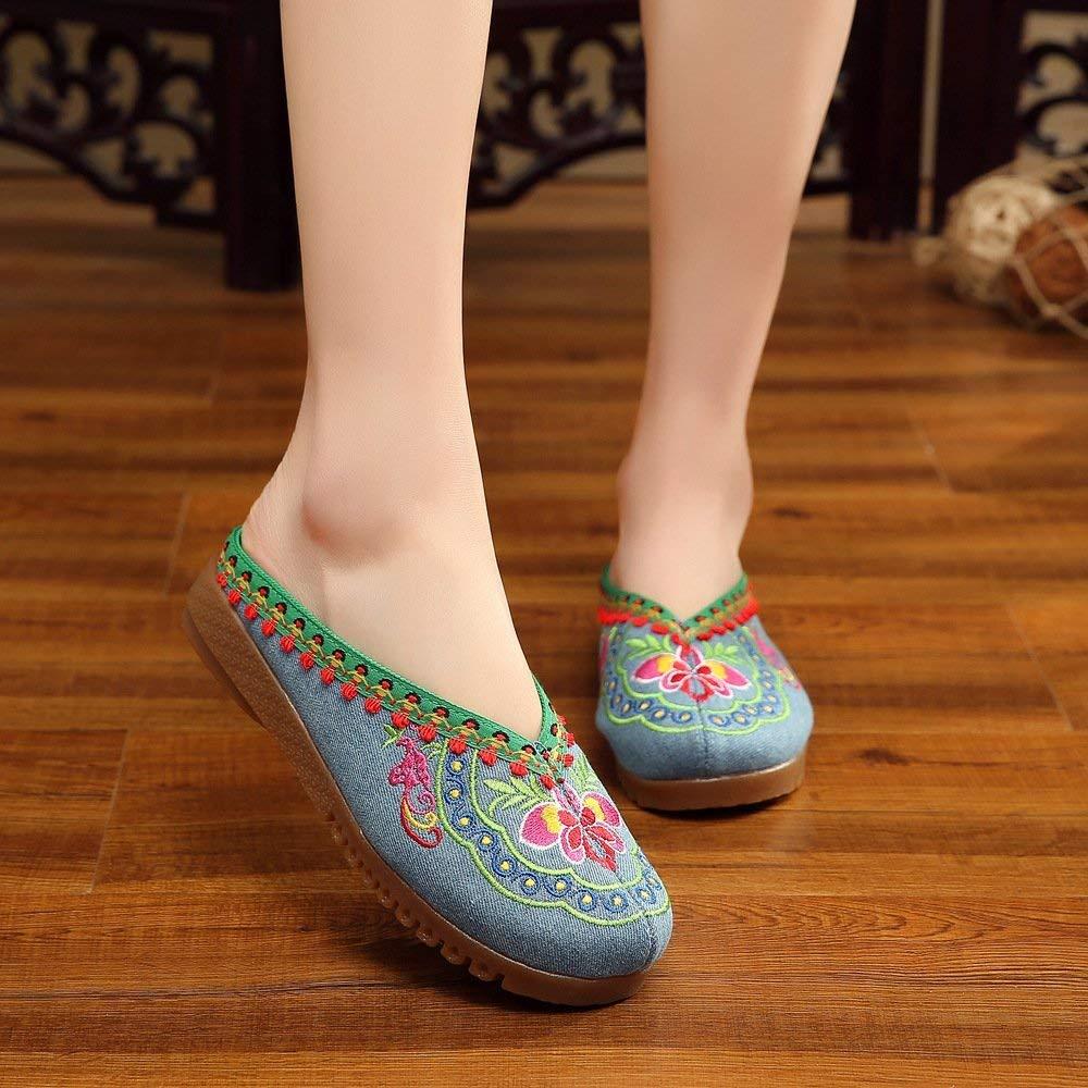 Moontang Bestickte Bestickte Bestickte Schuhe Sehnensohle ethnischer Stil weiblicher Flip Flop Mode Bequeme lässige Sandalen Denimblau 39 (Farbe   - Größe   -) f20379