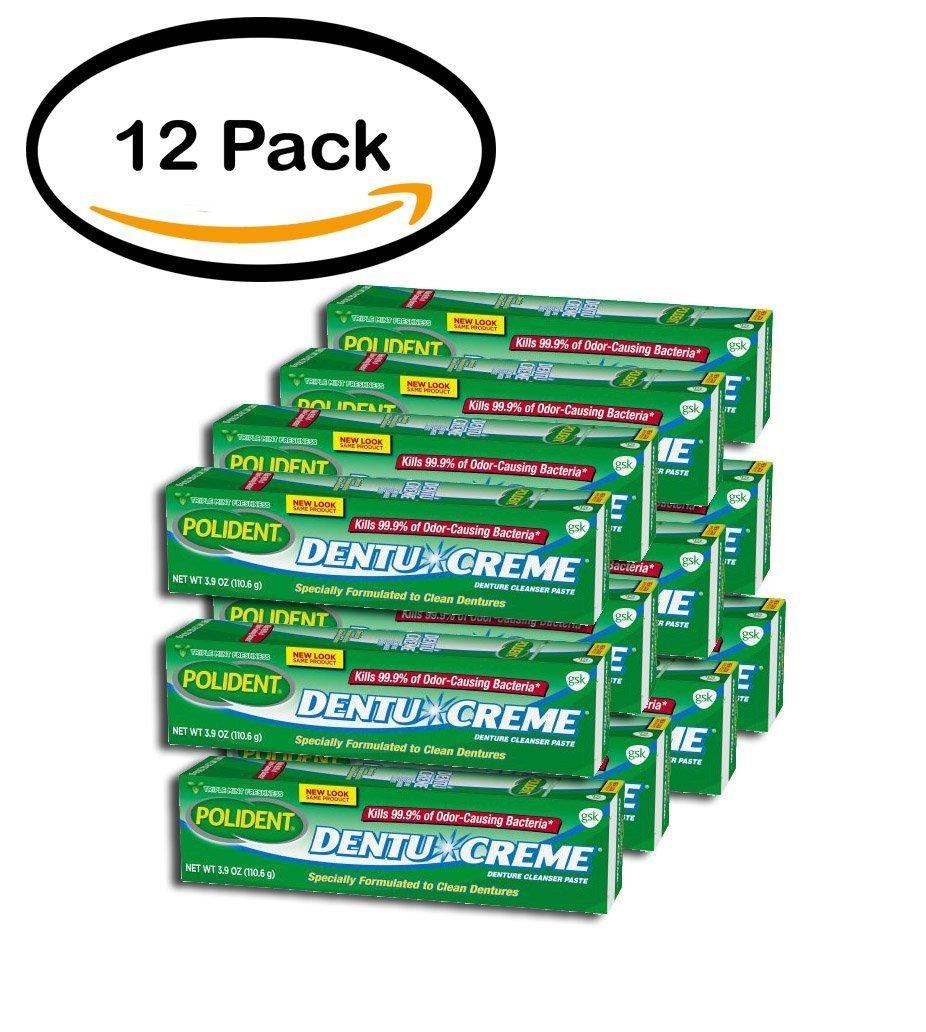 PACK OF 12 - Polident Dentu-Creme Triple Mint Freshness Denture Cleanser Paste 3.9 oz. Box by Polident (Image #1)