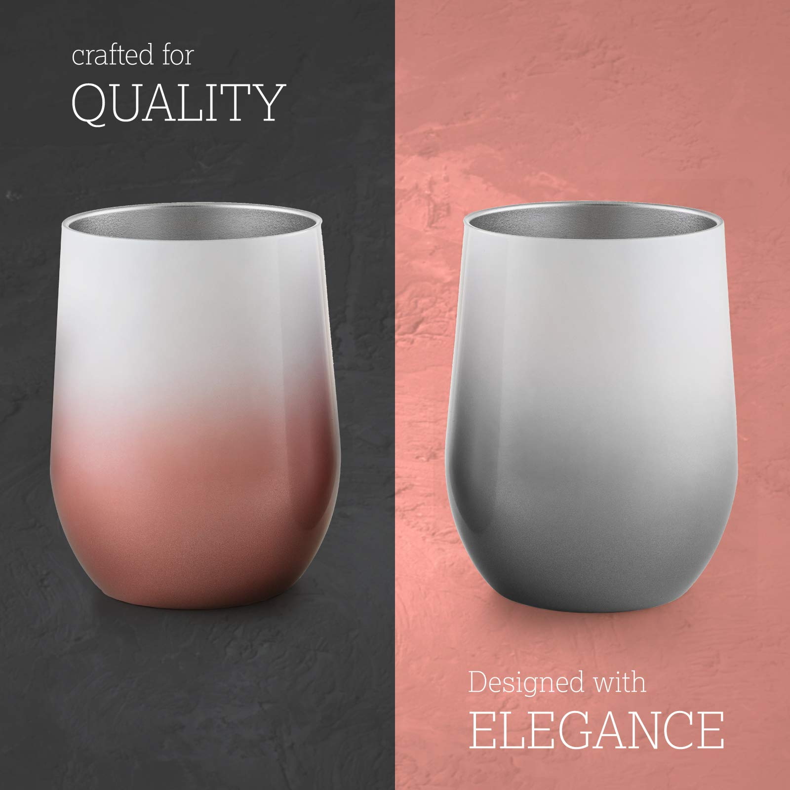 Wine Tumbler 12 oz Double-insulated Stemless Glass, 2 Sets Stainless Steel Tumblers Cup with Lids for Wine, Coffee, Drinks, Champagne, Cocktails by Your Happy Day (Image #4)