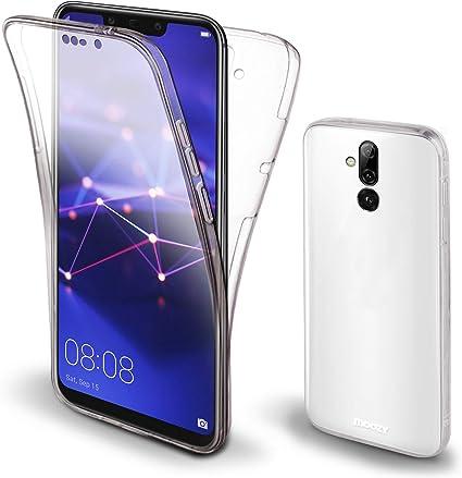 Moozy Cover Protezione 360 Gradi per Huawei Mate 20 Lite Silicone Trasparente - Full Body Custodia TPU Case Copertura Completa
