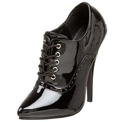 Black Patent Oxford High Heels with Single Sole and 6 Inch Heels Size  5