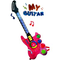 Banshika toys & gifts My Big Guitar with Sensor Music and Lights Toy for Kids/boy/Girls (Pink- 71 x 21 cm)