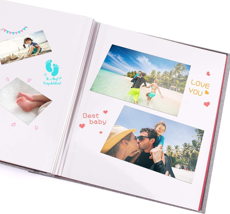 Blanc BESTOO Album Photo Scrapbook Tissu Velours 11/× 11 pour 80-120 Photos