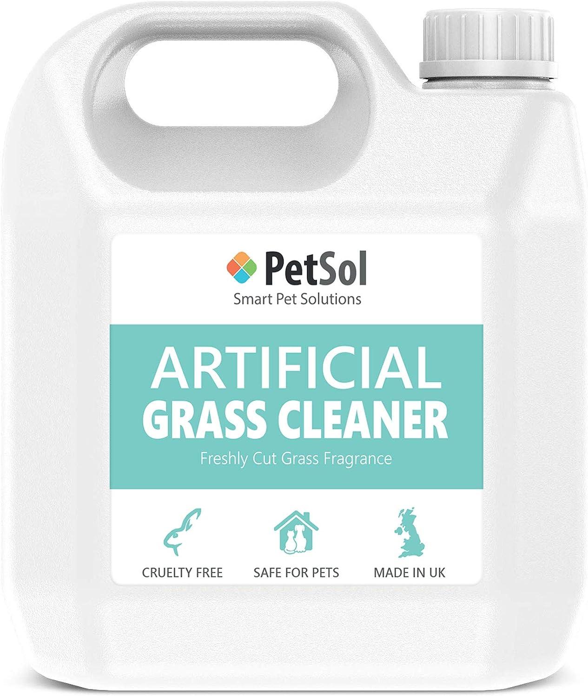 PetSol Limpiador césped Artificial para Perros y Mascotas 3 en 1 Concentrado Hace 30 litros. Desinfectante, Desodorizador, removedor de la orina. Elimina Musgo y Algas. Fragancia Césped Fresco (1L)