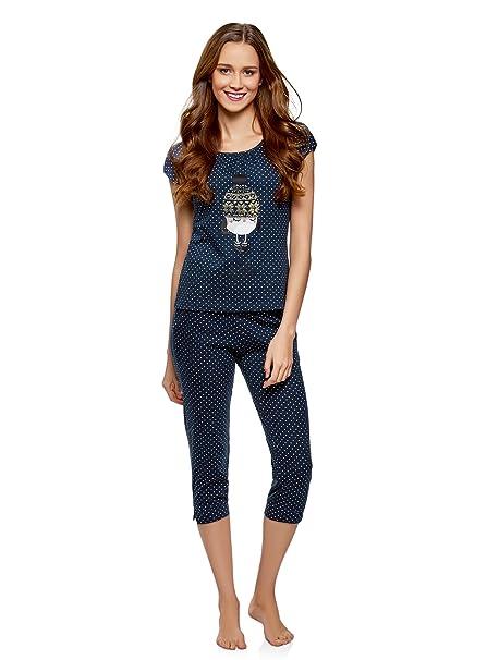 oodji Ultra Mujer Pijama con Pantalones Piratas y Estampado en el Pecho: Amazon.es: Ropa y accesorios