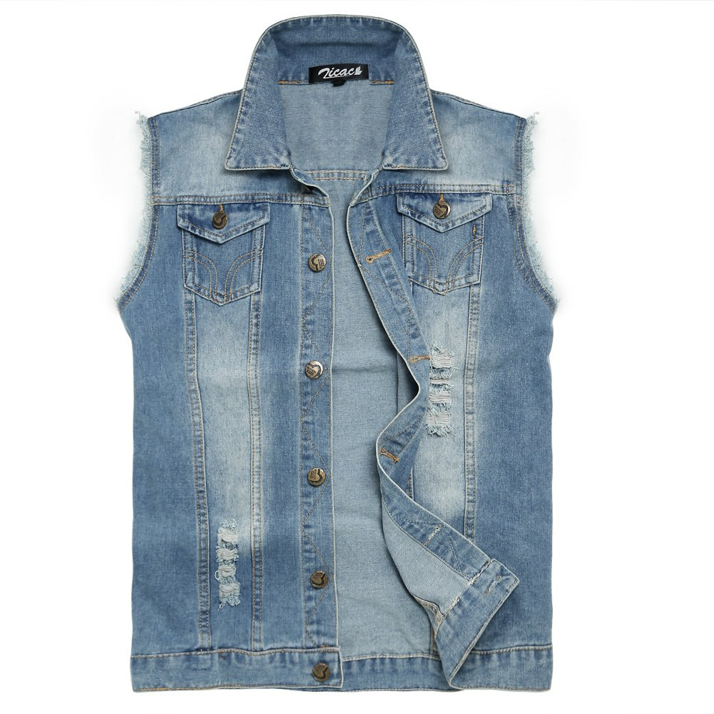 Zicac Men's Top Design Denim Vest Waistcoat with Broken Holes (XL, Light Blue) by Zicac