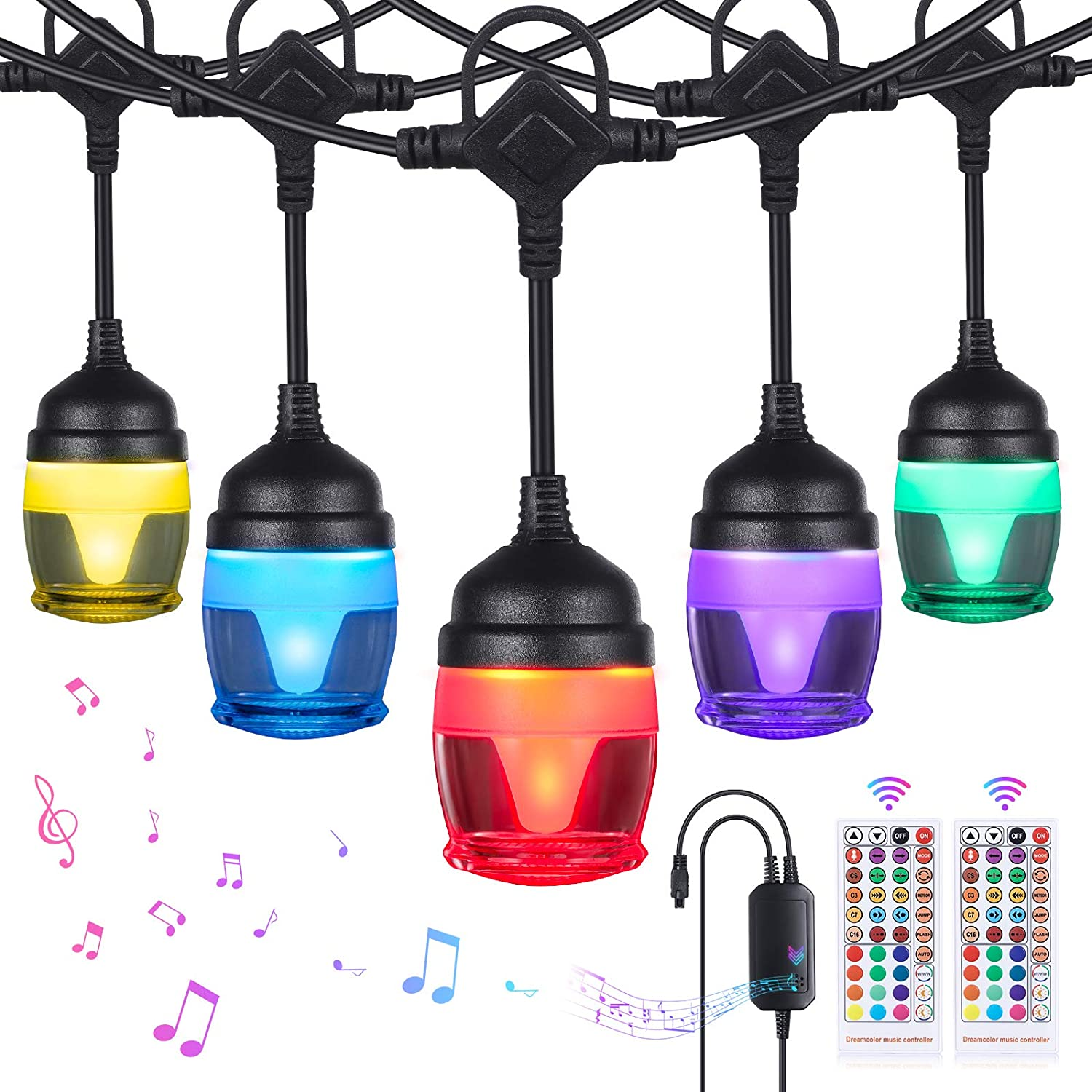 YUNLIGHTS Color Changing Outdoor String Lights - 41FT RGB String Lights Music Sync with 14 F12c Bulbs, IP65 Waterproof & Shatterproof Dimmable LED Patio Lights for Party Backyard Garden Christmas