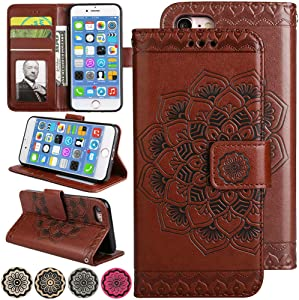 iPhone 5s / iPhone SE Folio Wallet Phone Case Cover, [Stand Video][Card Holder] 4.0inch iPhone5s Flip Leather Case 3D Flower Case for Apple iPhone 5 / iPhone 5s Case - Brown