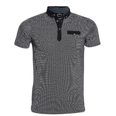 4f471e89a0e6 Mens Designer Polo Shirts Polka Dots Short Sleeve Plain Stylish Casual  T-shirt Tee Top: Amazon.co.uk: Clothing