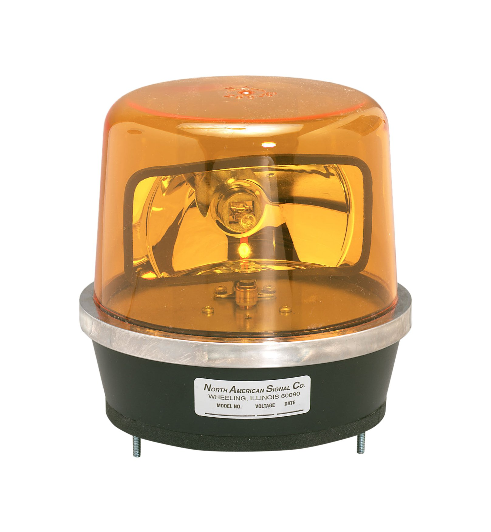 North American Signal 112HR-24A Halogen Rotating Beacon, Permanent Mount, Amber
