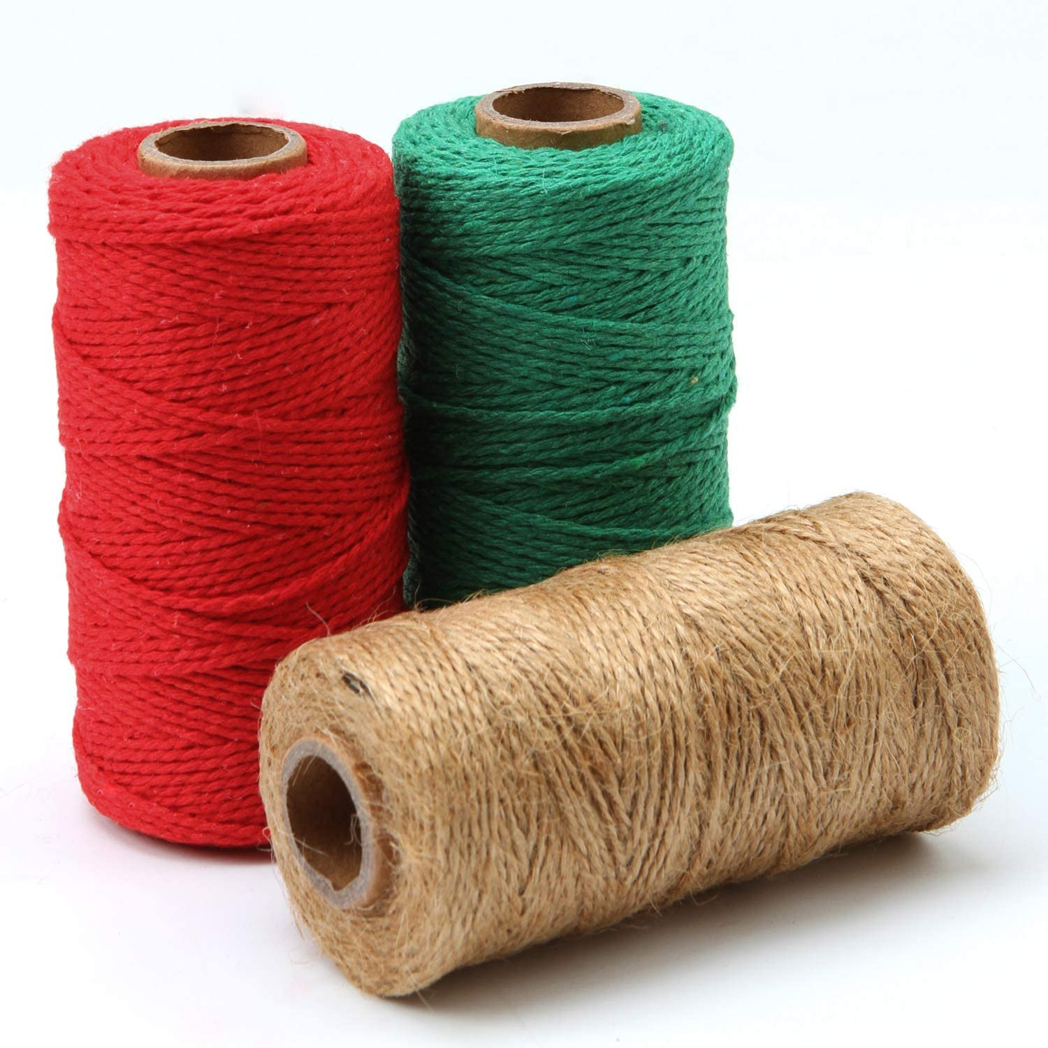 Green,Red,Natural Resinta 3 Rolls 984 Feet Christmas Twine Thick Jute String Rope Cotton Baker Twine for DIY Craft Christmas Gift Wrapping