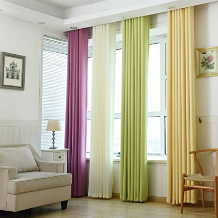 Souarts Opaque Curtain Simple Chic Style Eyelet For Living Room Bedroom