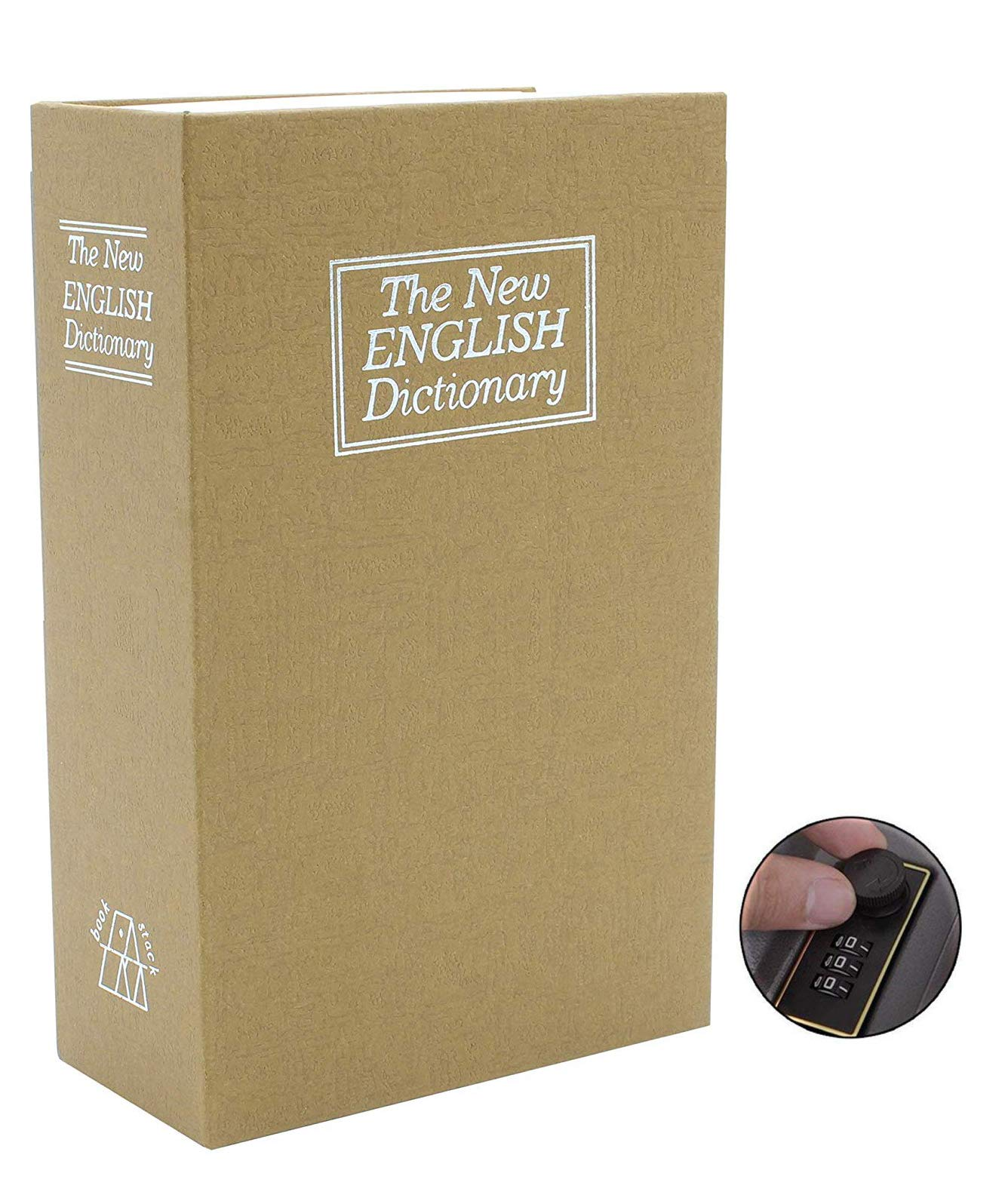 Book Safe Box Dictionary Diversion Lock Box with Combination Closing - Portable Book Safe - Store Money, Jewelry, and Other Documents 10.5'' x 8.00'' x 2.75'' (Tan, Large) by Royal Brands