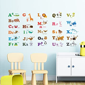 Decowall DW 1308 Alphabet ABC And Animals Kids Wall Decals Wall Stickers  Peel And Stick Part 58