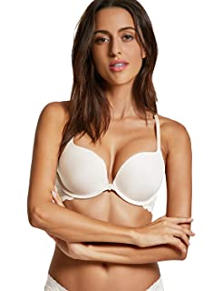 98f4ee15d8 Dobreva Women s Front Close Bra Underwired T-Shirt Padded Push Up Bra Plunge