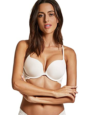DOBREVA Women s Front Close Bra Underwired T-Shirt Padded Push Up Bra  Plunge Ivory 32A 402da0cb2