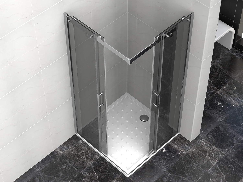 Cabina de ducha de 80 x 80 x 190 cm con plato de ducha de cristal de 8 mm Venta Nero (cuadrada): Amazon.es: Bricolaje y herramientas