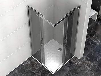 Cabina de ducha de 80 x 80 x 190 cm con plato de ducha de cristal ...