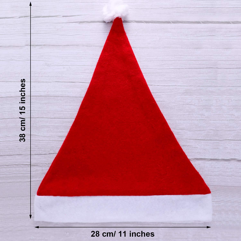 Rojo SATINIOR 12 Piezas de Sombrero de Pap/á Noel Gorra de Tela No Tejida de Navidad para Fiesta Navidad