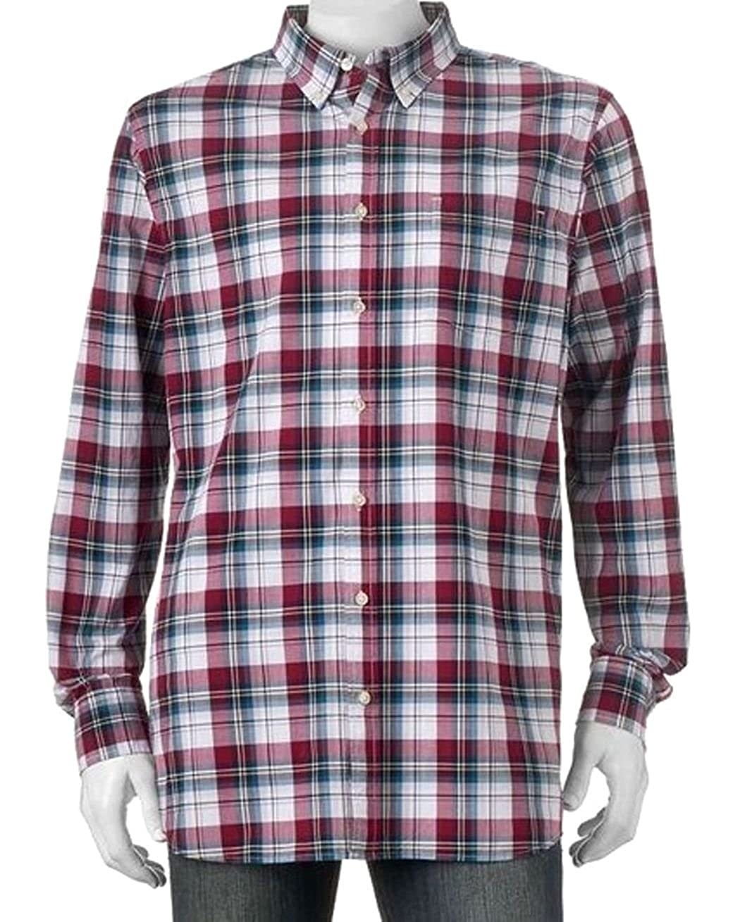 de73516eeb369 Sonoma Mens Modern Fit Poplin Casual Shirt Western Burgundy Plaid at Amazon  Men s Clothing store