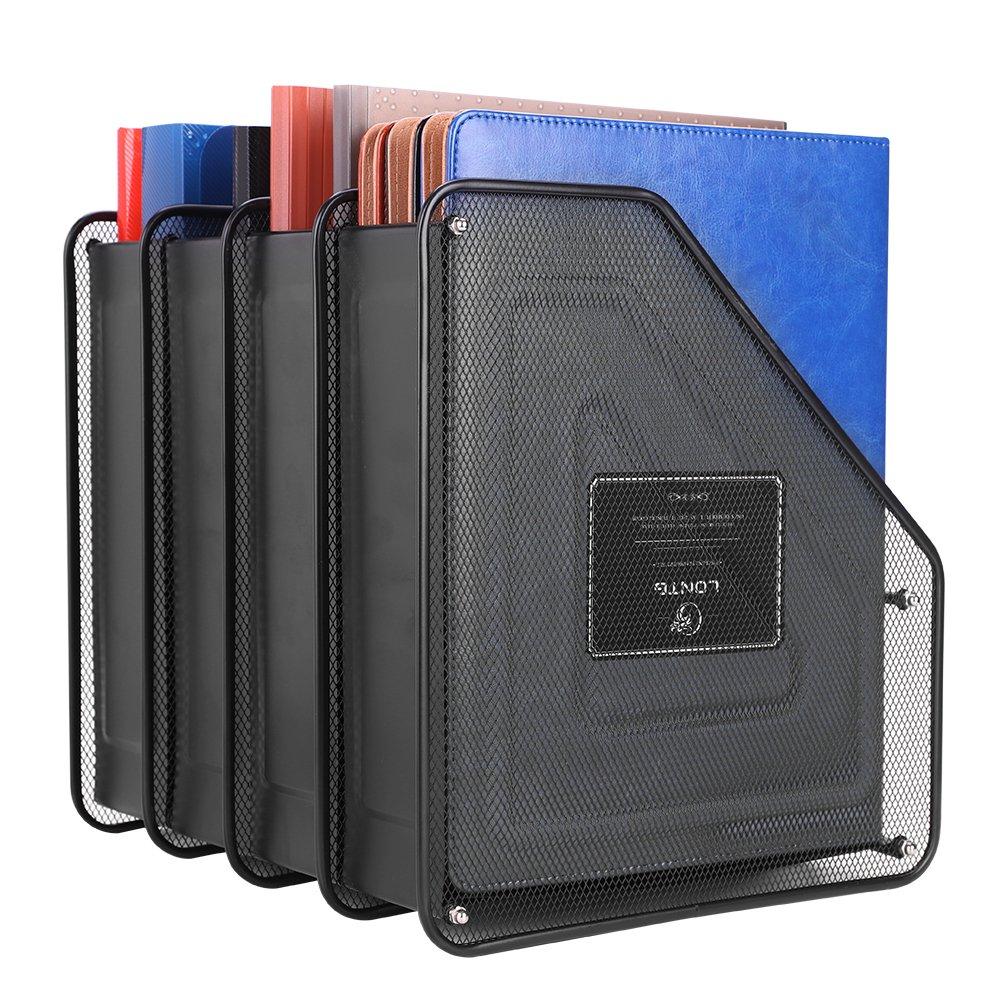 Metal Mesh Magazine File Folder Holder Rack File Frame Dividers Quadruplicate DIY Documents Paperwork Stand Filling Shelf Desktop Organizer Storage Box for Office School Home Hollow 4 Compartments