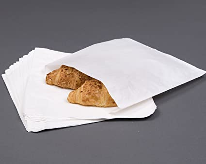 """1000 7/"""" x 7/"""" White Thank You Greaseproof Food Cake Sweet Sandwich Paper Bags"""