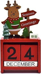 NOVMAY Christmas Countdown Calendar Wooden Blocks Perpetual Desk Calendar Reindeer Snowman Santa Retro Christmas Handmade for Home Office Decoration (Reindeer)