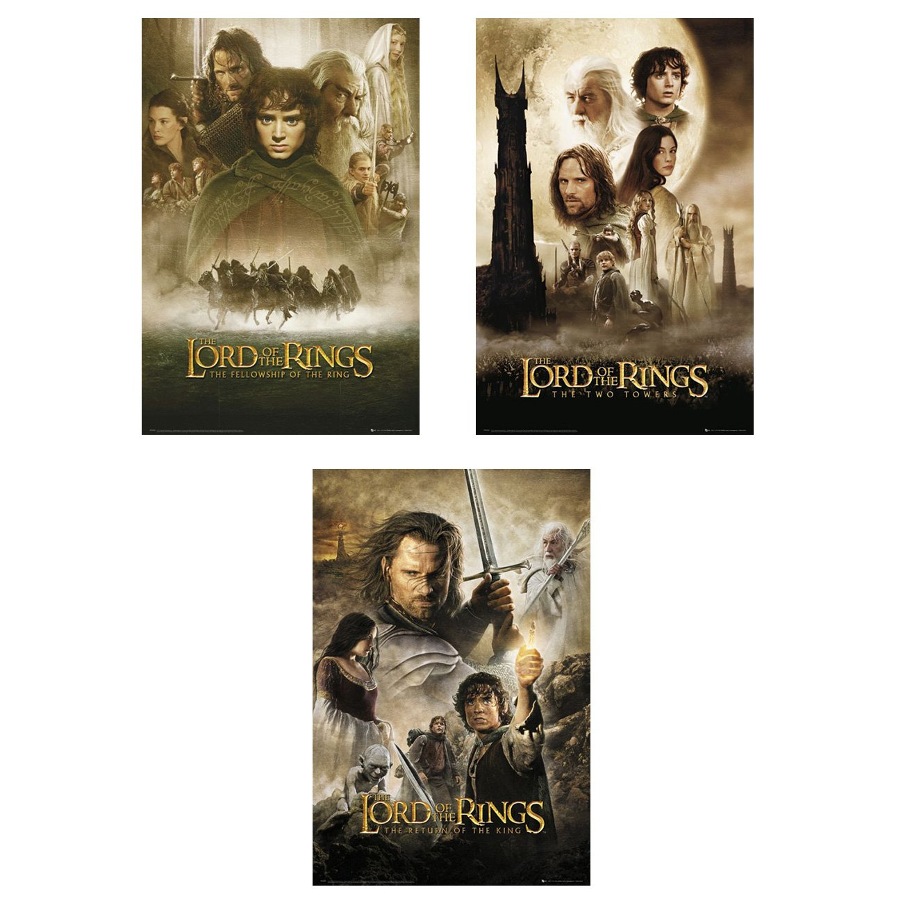 The Lord of The Rings 1, 2 & 3 - Movie Poster Set (3 Posters) (Size: 24'' x 36'')